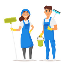 Cleaning Service Man And Woman