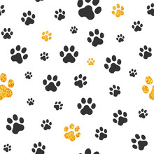Gold And Black Pawprint Seamless Background