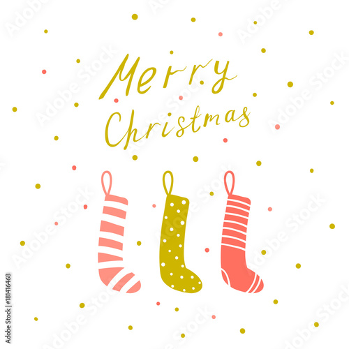Staande foto Retro sign Christmas card with hand drawn lettering and hanging socks, Christmas design elements