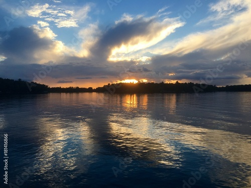 Majestic sunset over a calming lake