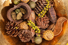 Christmas Potpourri Table Decoration. Traditional Xmas Pinecone And Berries.