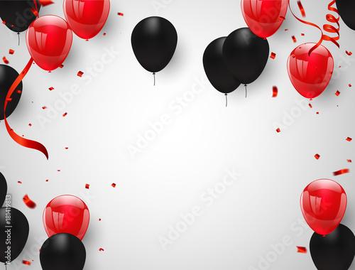 red black balloons  confetti concept design happy greeting