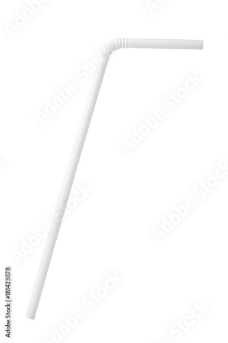 White plastic drinking straw isolated on white background