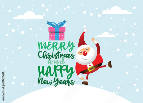 Obraz Cartoon Santa claus with a gift of toys in front winter background - fototapety do salonu