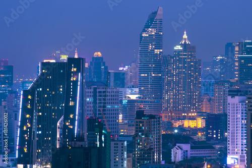 Photo Stands Kuala Lumpur Bangkok downtown at night.
