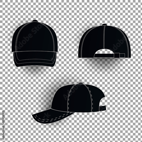 white and black baseball cap icon set front view design template