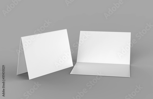 bi fold or horizontal half fold brochure mock up isolated on soft