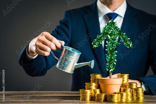 Foto  Geschäftsmann und Pflanze