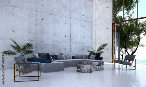 The modern lobby lounge and living room and concrete wall and sea view / 3D rendering
