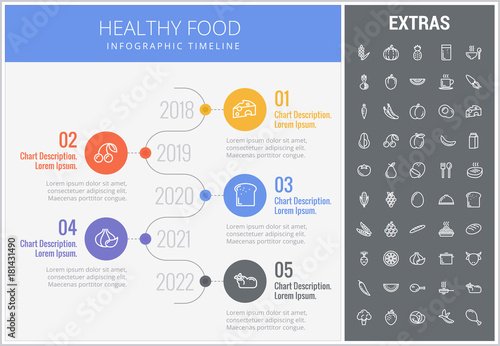 Healthy Food Infographic Timeline Template Elements And Icons