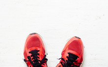 Pair Of Red Sport Shoes Laid O...