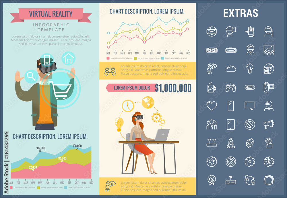 Fototapeta Virtual reality infographic template, elements and icons. Infograph includes customizable graphs, charts, line icon set with virtual reality glasses, vr technology, video games, tech app etc.