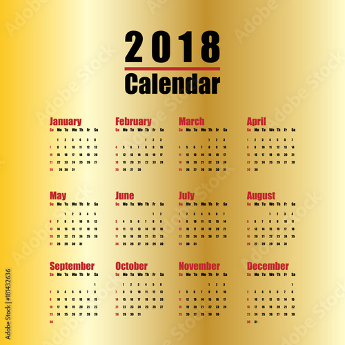 vector template of 2018 new year calendar in clean minimal table simple style red black and