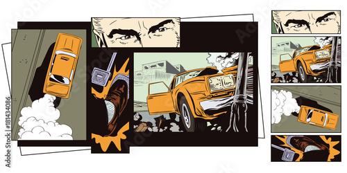Staande foto Cartoon cars Stock illustration. Car crashed into a pillar.