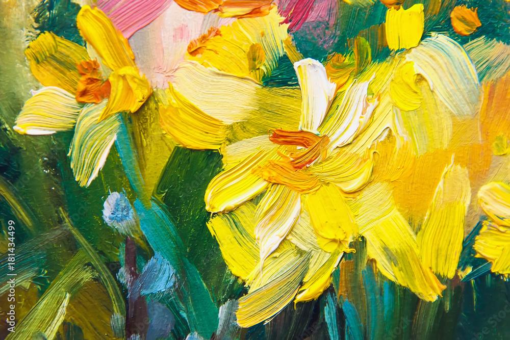 Fototapeta texture of oil painting, Art Painted Image color, paint, artist's canvas,