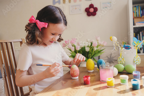 Easter Craft With Kids Painting Eggs At Home Seasonal Spring