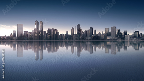 Beautiful view of downtown with modern architecture