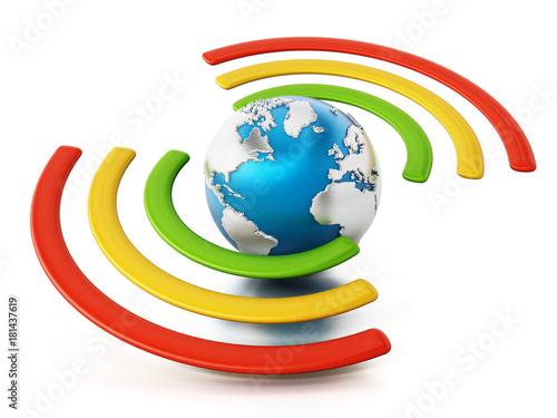 Wireless symbol around the blue earth. 3D illustration – kaufen Sie ...