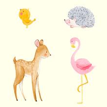 Cute Watercolor Animal Vector ...
