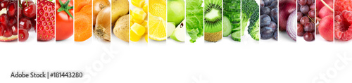 Poster Fruit Collage of fruits and vegetables