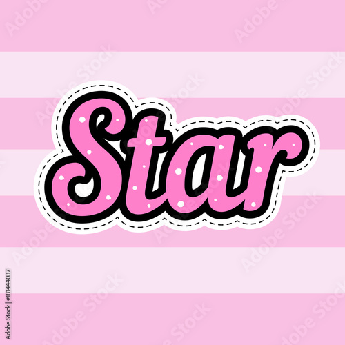 star word patch vector hand drawn fashion hipster badge sticker