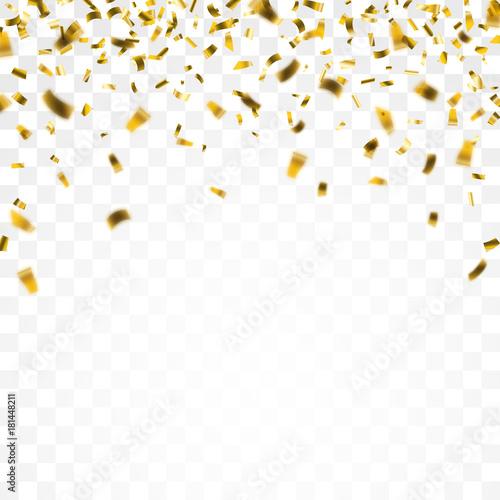 Fotografiet Golden Confetti Transparent Background