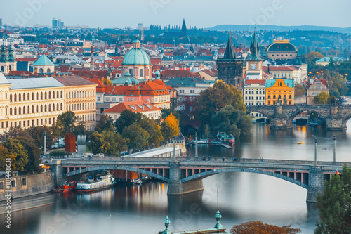 Foto op Plexiglas Japan View of Charles Bridge and Vltava river in Prague, Czech Republic
