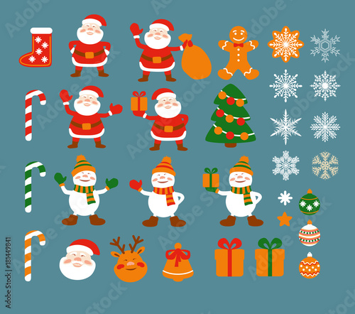 Set Of Cartoon Simple Elements For Christmas Design In Flat Style Santa Clause Snowmen Gift Box Christmas Tree Decoration Deer Head Snowflakes Bell Gingerbread Men Vector Buy This Stock Vector And Thanks you for watching my chennal, please (like, comment, share, and subscribe. flat style santa clause snowmen gift