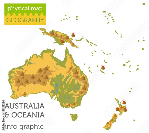 Australia and Oceania physical map elements Wallpaper Mural