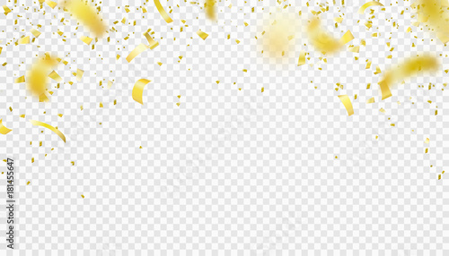 Obraz Falling confetti isolated border background. Shiny gold flying tinsel for party - fototapety do salonu