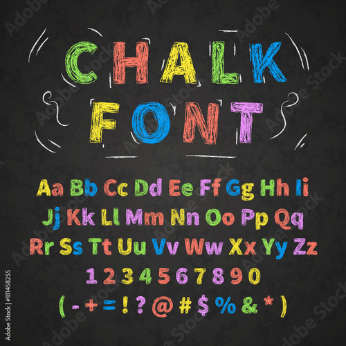 Colorful retro hand drawn alphabet letters drawing with chalk on black chalkboar Wallpaper Mural