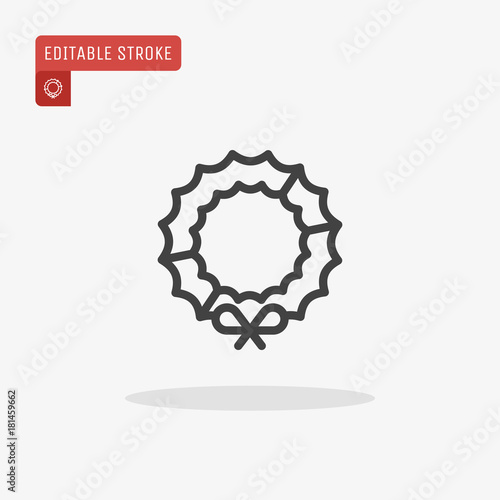 Outline Christmas Wreath Icon Isolated On Grey Background Symbol Of