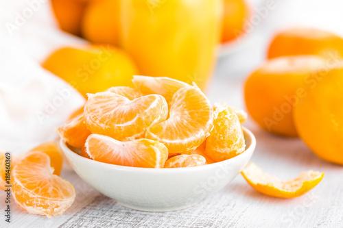 Fresh peeled mandarins, tangerines