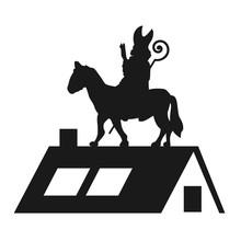 Sinterklaas Met Paard Op Het Dak