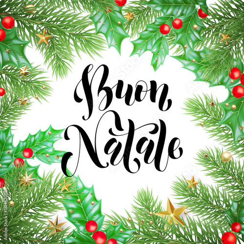 Buon Natale Italian Merry Christmas Holiday Hand Drawn Calligraphy