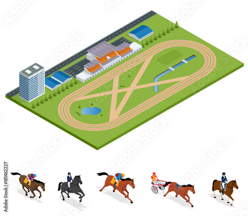 Isometric Exterior Racecourse and set Jockey on horse, Champion, Horse riding for Sport background Wallpaper Mural