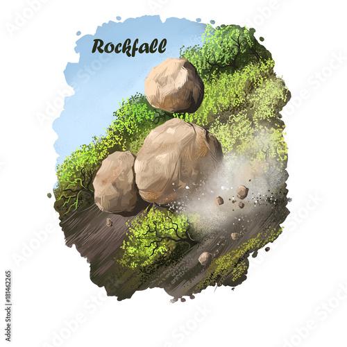 Fotografie, Obraz  Rockfall digital art illustration of natural disaster