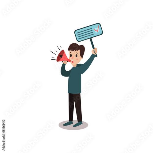 Photo Man character holding placard election voting and megaphone, political agitation