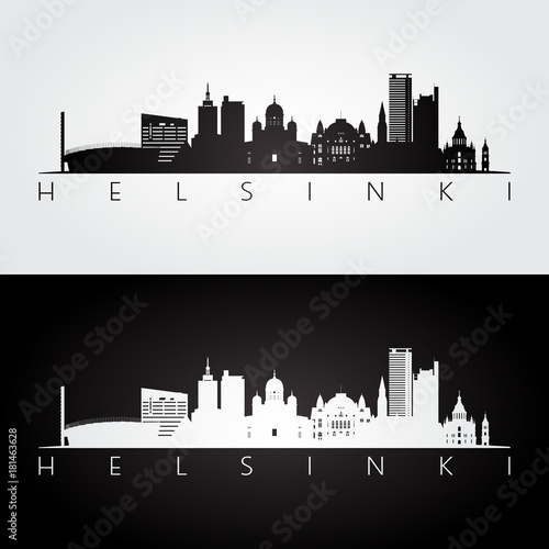 Canvas Print Helsinki skyline and landmarks silhouette, black and white design, vector illustration