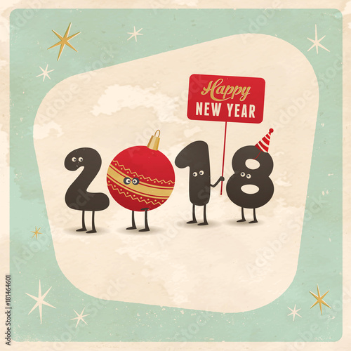 Vintage style funny greeting card - Happy New Year 2018 - Editable ...