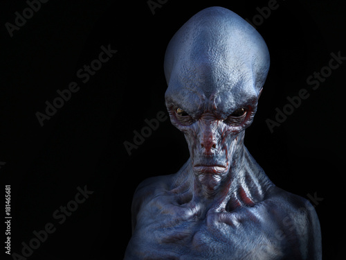 Fotografie, Obraz  3D rendering of an angry alien creature.