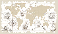 Hand Drawn Vector World Map Wi...
