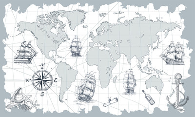 Fototapeta Marynistyczny Hand drawn vector world map with compass, anchor and sailing ships in vintage style. Perfect for textiles, wallpaper and prints