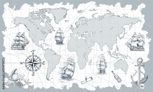 Hand drawn vector world map with compass, anchor and sailing ships