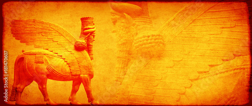 Grunge background with paper texture and lamassu Wallpaper Mural