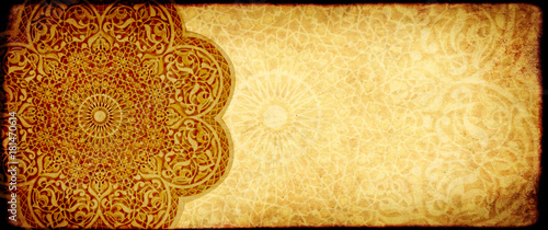Fotobehang Marokko Grunge background with paper texture and floral ornament in Moroccan style