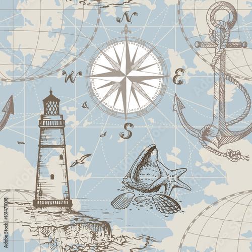 Tapety do pokoju chłopca recznie-rysowane-wektor-bezszwowe-mapa-morza-z-kompasem