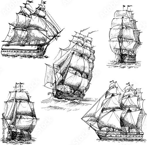 Fotobehang Schip Hand drawn vector set of vintage sailing ships in the sea