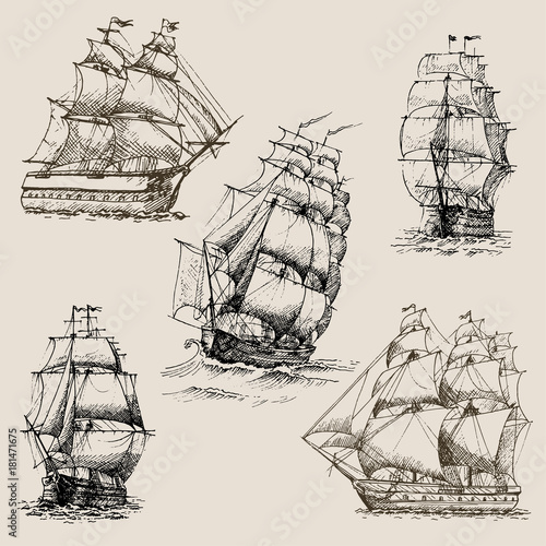Deurstickers Schip Hand drawn vector set of vintage sailing ships in the sea.