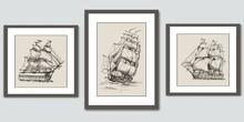Frames On Wall. Vector Hand Drawn Sketches Of Sailing Ships